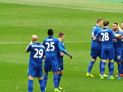 Leicester players pre kick off (lcfcian1) Tags: west ham united leicester city whufc lcfc olympic stadium london sport football epl bpl premier league westham westhamunited leicestercity westhamvleicester olympicstadium londonstadium 23 18317 westhamunited23leicestercity18317