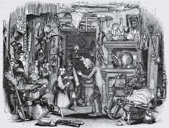 """Little Nell and her grandfather in """"The Old Curiosity Shop.""""  Story by Charles Dickens. London: Chapman and Hall, 1841. 1st ed. (lhboudreau) Tags: book books hardcover hardcovers hardcoverbook hardcoverbooks classicbook classicbooks classictale classicstory classicnovel novel story tale dickens charlesdickens 1841 firstedition chapmanhall chapmanandhall oldcuriosityshop theoldcuriosityshop curiosityshop nelltrent nelly nell littlenell littlenelly bookart antiquebook antiquarianbook illustration art etching engraving grandfather antiques armor georgecattermole hablotkbrowne hkbrowne"""