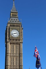 Unity for Europe (richardr) Tags: unityforeurope protest demonstration westminster london bigben parliament housesofparliament clocktower clock england english britain british greatbritain uk unitedkingdom europe european brexit remain pugin flag