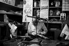 Checking the Accounts (anthonypond) Tags: 50mmsummilux bw india calcutta leicam9