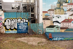 Andriivs'kyi Descent (PolaLeib) Tags: kiev ukraine andriivskyi street art murals colors chair leica kodak