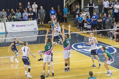 Touching the Sky - NCAA Men's Volleyball (aaronrhawkins) Tags: volleyball mens ncaa college university byu brighamyounguniversity hawaii net match smithfieldhouse campus brendensander kill spike jump block defend crowd ball leap aaronhawkins