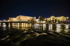 Royal Palace Across The Water (nydavid1234) Tags: stockholm sweden royalpalace palace stockholmpalace castle parliament night longexposure wideangle water waves nikon d600 nydavid1234 architecture architectural detail urban city photography