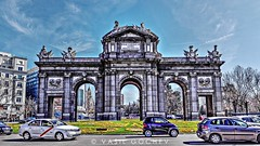 La Puerta de Alcalá (Vasil Gochev) Tags: la puerta de alcalá se encuentra en plaza independencia junto fuente cibeles y el parque del retiro monumento históricoartístico madrid españa unión europea spain gira tourist city tour traveler monument art buildings people cars sky clouds sun light