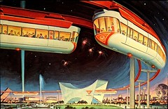 "Postcard of ""The AMF Monorail"" at the 1964 New York World's Fair. (lhboudreau) Tags: postcard fair worldsfair newyorkworldsfair exhibition 1964 1964worldsfair 1964newyorkworldsfair internationalexhibition newyork amfmonorail amf monorail transportation trains twocartrains passengers outdoor outdoors trainstation rail rails unisphere fairgrounds fountain fireworks monorailride ride fountains people illustration art artwork vintagepostcard"
