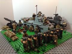 Allied setup #1 (BlackandWhiteBricks) Tags: ww2 lego british allies allied set camp base matilda stuart