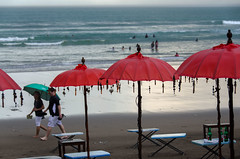 Umbrellas (Jrenggo) Tags: beach umbrella red green nikond7000 bali