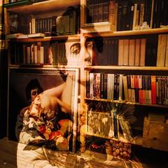 Caravaggio and Books (c-u-b) Tags: doppelbelichtung bücher books doubleexposure painting gemälde caravaggio