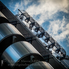 Spiral (Sylvia Slavin ARPS (woodelf)) Tags: london architecture spiral staircase lloyds building abstract dramatic