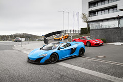 LT Spider and Friends (Edwin Peek) Tags: nurburgring nurburg nordschleife gpstrecke special edition supercar future classic yellow blue orange red photography epeek edwin peek automotoive picoftheday canon eos7d 7d sigma lovelife lovecars epic wallpaper germany deutschland mclaren 675lt v8 turbo ferrari 458 speciale spyder spider