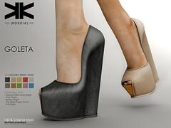 Goleta :: Woman Shoes :: 10 Colors ({kokoia}) Tags: goleta mesh kokoia slink shoes shoe feet black pack maitreya belleza themeshproject tmp stiletto pumps high eve summer heel plarform woman cradle wedges secondlfie virtual