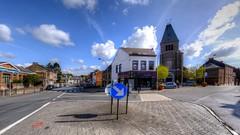 the crossroad (Ⓨ a s m i n e Ⓗ e n s +4 900 000 thx❀) Tags: crossroad carrefour blue sky bluesky clouds church road hensyasmine city landscape cityscape home belgium belgique belgrade namur