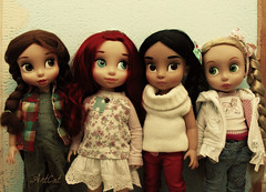 Belle '12, Ariel '15, Jasmin '15, Rapunzel '15 (ArtCat80) Tags: animators disney rapunzel jasmin belle ariel doll artcat