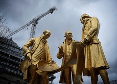 Builders (halifaxlight) Tags: england birmingham statue crane construction jameswatt williammurdoch matthewboulton industrialrevolution inventors businessmen industrialists builders