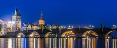 Evening Charles Bridge (JirkaCaletka) Tags: prague photography praha photo prag praga public photographer panorama czech cesko color colour czechrepublic cesky center cz charles bridge lamp light lights river water yellow blue tower building architecture karluvmost nikon nikkor d3300 nikonphotography 55200 long exposure jirka caletka jirkacaletka evening