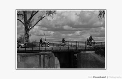 Dutch landscape / Hollands landschap (++Rob++) Tags: haarlem spaarndam blackwhite zwartwit fietsen bicycles bridge brug