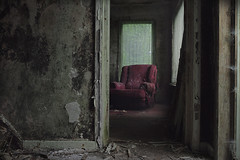 Calm before the storm (andre govia.) Tags: abandoned andregovia decay decayed derelict dead decaying decayedbuildings demo chair sofa window images ghosts creepy horror haunted hammer manor photos photo urbex ue dark damp red