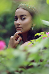 Flower Princess (ReemDreamPhoto) Tags: beautiful beauty girl model flowers leaves green pink tones jewelry crown ring bali portrait fashion reemdreamphoto reem nature natural 50mm canon tropical