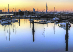 Sunrise Spinnaker Tower (babell4321) Tags: sunrise portsmouth gosport sea spinnakertower boats reflections silhouttes lipstickbuilding canon canonpowershotg16 skyline priddyshard lowtide hampshire england beverleybell 2016