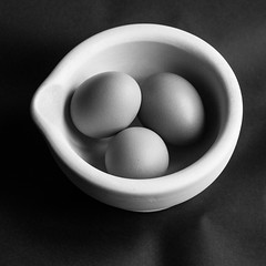 Eggs for breakfast? (nigelharris2) Tags: blackwhite eggs stilllife canon eos bnw bw contrast white