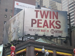 Twin Peaks - The Return Bus AD Billboard Poster 4790 (Brechtbug) Tags: twin peaks the return bus ad billboard poster laura palmer sheryl lee fbi agent dale cooper kyle maclachlan mystery 90s show showtime type mysteriuos bird birds owl owls may 05212017 9pm 2017 what they seem that gum you like is going come back style finally already nyc broadway 50th st near times square midtown manhattan street new york city streets
