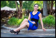 Sara - Meet Me Halfway (jfinite) Tags: model beauty fashion environmentalportraiture spring dress bluedress heels legs
