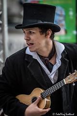 Top Hat &  Ukulele (FotoFling Scotland) Tags: 2015 arts edinburgh edinburghfestivalfringe royalmile ukulele august highstreet performer promotion streetperformer streettheatre tophat fotoflingscotland