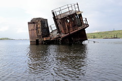 Submerged Obstacle Ahead (95wombat) Tags: abandoned decay rotted tattered crusty rusty marinegraveyard arthurkill statenisland newyork