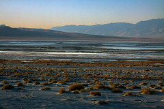 Owens Lake (lefeber) Tags: california lake mountains water landscape morninglight haze desert roadtrip brush valley plus hazy bushes saltwater owensvalley owenslake atmosphericperspective driedup aerialperspective sierranevadamountains