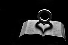Heart in a book (Saumong Lee) Tags: shadow blackandwhite white abstract black love lamp contrast book darkness heart symbol object creative tape bible symbolic