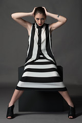 Black and White Editorial (AndrePatrocinio) Tags: white black branco model box stripes preto modelo caixa cube riscas brunette cubo morena
