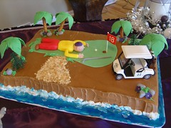 Golf 18th Hole Groom's Cake (MammaTessies) Tags: wedding purple eggplant callalilies 18thhole groomscake sheetcake squarecake 3tierweddingcake crystaltopper