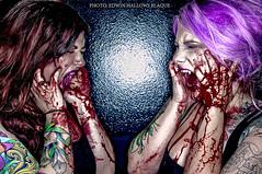 Let Me Hear You Scream (Edwin Hallows Blaque) Tags: necklace blood nikon vampire tattoos scream bloody nikkor piercings screaming pinkhair purplehair lavenderhair projectpinup edwinhallowsblaque brandeenicoleashes jessicajahnsen