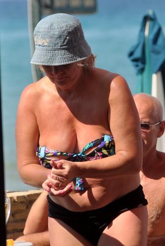 Really Busty mature beach bikini very