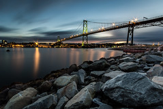 Days Go By (bluegreenorange) Tags: longexposure bridge clouds halifax dartmouth halifaxharbour macdonaldbridge