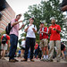Students eat at 'Wear Red, Get Fed,' Homecoming event on the Brickyard.