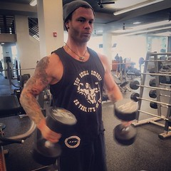"""When you weight train with @pinkjody it turns into a photoshoot. Tank top courtesy of @joey_promo and @suppcentral - no surrender, no retreat! #saturday #workout #shoulders #gettinit #hitfailure #pump #painandgain #urbanrock #jessemader #breathbybreath @p • <a style=""""font-size:0.8em;"""" href=""""https://www.flickr.com/photos/62467064@N06/11012694763/"""" target=""""_blank"""">View on Flickr</a>"""