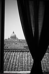 Waking up in rome (ccalmeidalopes) Tags: blackandwhite vatican rome window roofs flickrandroidapp:filter=none
