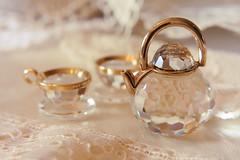 Miniature Tea Set (Grishnkh) Tags: macro set vintage austria miniature crystal tea cups teapot swarovski austrian