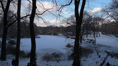 Central Park Bridge (Barney A Bishop) Tags: park nyc bridge blue trees winter snow newyork skyline clouds landscape centralpark manhattan samsung noflash imagelogger galaxynx ditchthedslr