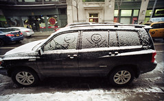 Car (neilsonabeel) Tags: street nyc winter snow film car 35mm lomo lomography drawing manhattan analogue lcwide