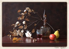 Depth of Darkness (Esther Spektor - Thanks for 6 millions views..) Tags: autumn winter red stilllife food orange brown color reflection art texture apple water glass leaves yellow fruit composition canon bottle stem beige branch pattern darkness wine availablelight burgundy ivory shell stilleben fantasy pear imagination esther depth everydaylife tabletop bodegon naturemorte goblet artisticphotography naturamorta sp