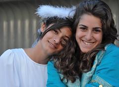 Cast members Sara Hoteit and Lama Masri at fellow cast member Joseph Assi's multimedia installation in Washington, DC.