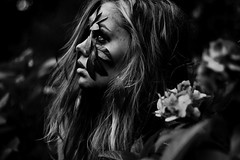 (AnaCooke) Tags: wild portrait bw woman selfportrait plant flower tree nature girl face leaves canon eos 50mm leaf intense eyes branch side teen teenager wilderness f18 greenman teenphotographer
