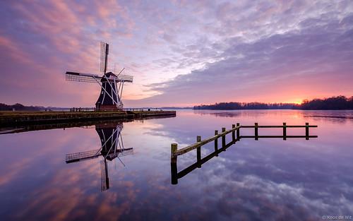 Mill 'De Helper' at sunset