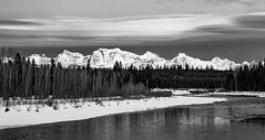 Inverted (ebhenders) Tags: north fork flathead river glacier national park blue hour mountain peaks snow clouds water