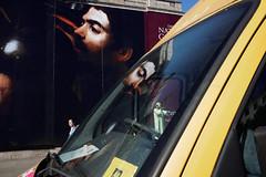 Untitled (Stubwoi) Tags: london city uk street trafalgarsquare poster hoarding art caravaggio yoda people reflection window nationalgallery