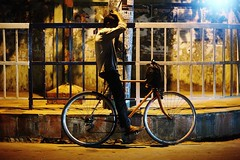 The Geometry Student (N A Y E E M) Tags: youngman bicycle midnight light sodium candid street fence navalavenue chittagong bangladesh availablelight atmosphere carwindow