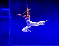 Edge of Grace (ejmc) Tags: dance austin tx usa girl woman ballet aerial leap jump scaffold bluelapislight performance night blue platform