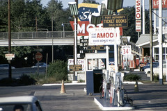 Found Photo - US NJ US Rt 1/9/46 at North Ave, Fort Lee NJ (approach to GWB) (David Pirmann) Tags: foundphoto highway gasstation newjersey gasoline petroliana amoco sinclair esso gaspumps